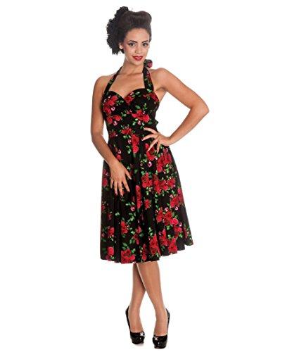Hell Bunny 50's Cannes Vintage Rose Floral Dress Black – UK 20-22 (3XL) / Black, Red & Green