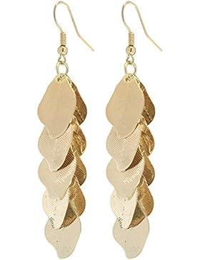 2LIVEfor Lange Ohrringe Blatt Gold Lang Tropfenform Ohrhänger Retro Ohrringe lang hängend Blätter gold Vintage...