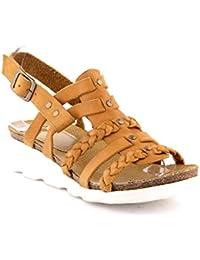Felmini - Zapatos para Mujer - Enamorarse com Dorini A142 - Sandalias de cuña - Cuero Genuino - Marrón