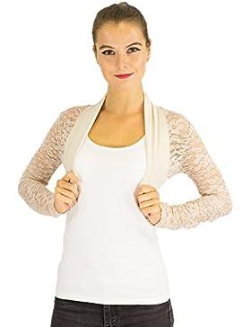 Chaqueta bolero de mujer elegante con puntilla, ocio, fiesta chaqueta de algodón
