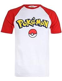 Pokèmon Logo-Mens Contrast T-White/Red, Camisetas para Hombre