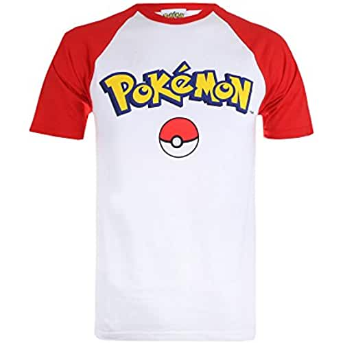 Pokemon Logo-Mens Contrast T-White/Red, Camisetas para Hombre