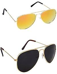 Amour-propre Yellow Mercury Aviator And Black Lens Golden Frame Aviator Sunglasses Combo