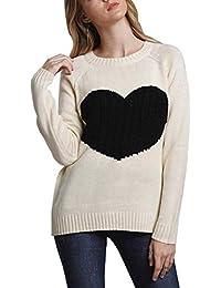 Doballa Damen Elegant Pullover mit Nette Herz Muster Ellenbogen Patch  Langarm Leichte Strickpullover c99b4c8341