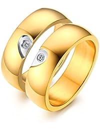 AnazoZ Alliance Homme Femme Acier Inoxydable Couple Ring Set 6MM Plaqué Or Heart Puzzle Bague Mariage Couple