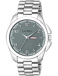 Laurels Large Maverick Grey Day & Date Men Watch with Push Button Lock