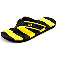 Muryobao Flip Flops for Men The Best Non Slip Summer Beach Big Man Slippers Large Size Extra Wide Platform Thong Sandals Yellow Size 41 EU/8 US