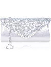 921c6ad005 Larcenciel Pochette Enveloppe Sac de Soirée en Paillettes Brillant Argenté pour  Femme