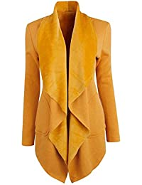Semen Femme Blazer Manches Longues Vest de Tailleur Loose Cardigan Gilet Chaud Printemps Automne Pull Uni Casual OL Bureau