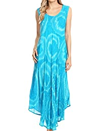 611b665d4a0b Sakkas Rocio Women s Sleeveless Caftan Beach Cover up Dress Casual Relaxed Tie  dye