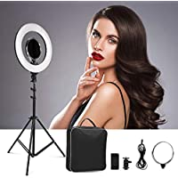 "CRAPHY 14""/36cm Exterior LED NO Filtro de Color Luz Anillo 5600K Kit de Iluminación Ring Light 40W Bi-Color, con Espejo cosmético para Cámara Smartphone Retrato Maquillaje Video Youtube"