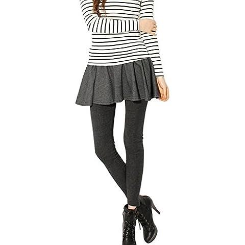 LaoZan Invierno polainas de lana con faldas Longitud total Pantalones Leggins Para Mujer estilo de primavera (Gris oscuro02)