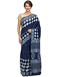 The Weave Traveller Women's Handloom Cotton Hand Block Printed Indigo Saree With Blouse Piece (TWT_C_INDCLOUD_...