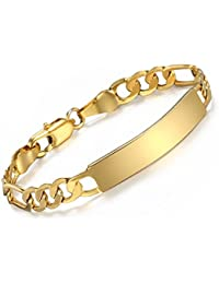 Trendsmax Yellow Gold Plated ID Bracelet for Baby Figaro Figaro Chain Smooth Bangle Link Fashion Jewelry