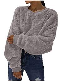 WHSHINE Frauen Sweatshirts Winter Einfarbig plüsch Warme Loose pullis Damen  komfortabel Sport Sweatshirt warm… cfec94dc61