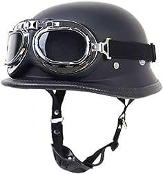 TORC Motorrad Open-Face Halbhelm Mit UV-Schutzbrille Vintage Jet Heavy Cruiser Motorrad-Helm DOT Zertifikat Vier Jahreszeiten Unisex Matte schwarz,M55~56cm