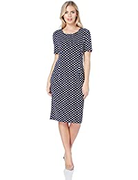688f2981418 Roman Originals Women Polka Dot Puff Print Dress - Ladies Smart Casual  Dinner Workwear Office Formal