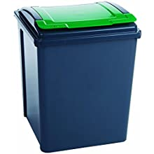 VFM 384288 Recycling Bin with Lid, 50 L, Grey/Green