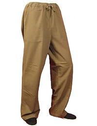 Maßgeschneiderte Braune Tai Chi Hosen Handgefertigt aus Weicher Baumwolle #127
