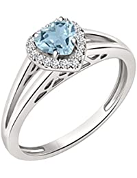 Silvernshine 7mm Heart Cut Aquamarine & Sim Diamond Halo Engagement Ring 14K White Gold Plated