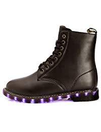 Husto-T Stiefel, Herbst und Winter Explosion Modelle LED-Blitz Martin Stiefel Lederschuhe Stiefel Kind-Paare-7 Farben USB-Lade