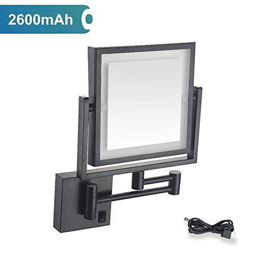 MTXJ LED Kosmetikspiegel Beleuchtet Zur Wandmontage 3-fache Vergrößerung USB Wiederaufladbare Doppelseitig 360°Schwenkbar Faltbar Make-Up-Spiegel Viereckig Wandspiegel -
