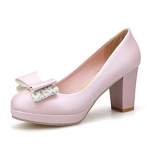 KPHY-Autunno Sola Scarpa Femminile Bow Bow Tacco Alto 7.5Cm Scarpa A Piattaforma Carica Dura Tacco Di Scarpe Da Lavoro Pink