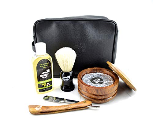 Urbane Men Traditional Shaving Complete Kit Gift Set- with Pre Shave Oil, Shaving Bowl, Soap, Brush, Straight Razor with Leather Case