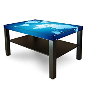 Grande table basse avec tablette de table motif carte du monde