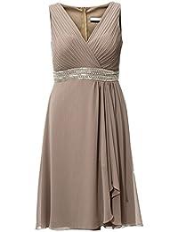 Kleid Abendkleid Cocktail Party festlich Ballkleid taupe 48