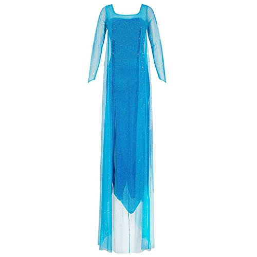 stüm Prinzessin Elsa Kleid Erwachsene - Disney 'Frozen Die Eiskönigin' - Dehnbares Partykleid aus Glitzerstoff, Rücken-Ausschnitt - Verkleidung für Karneval, Fasching, blau, XL (Disney-kostüme Für Frauen)
