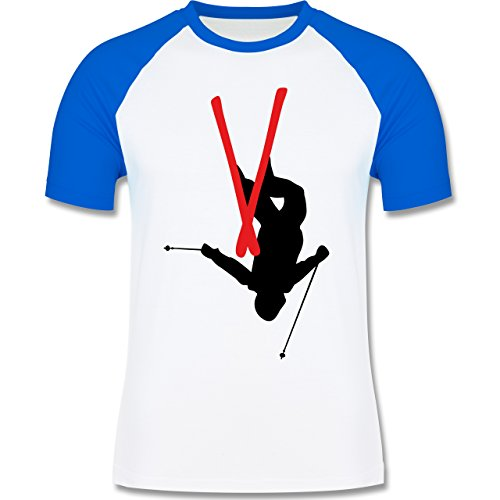 Wintersport - Freestyle Skiing - Freestyle Ski Tricks - zweifarbiges Baseballshirt für Männer Weiß/Royalblau