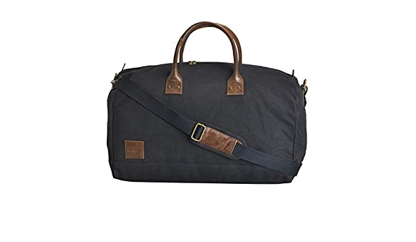 Canvas /& Awl Navy Blue Canvas with Genuine Leather Trim Unisex Travel Duffel Bag /…