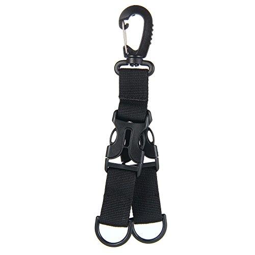 AOLVO Gear Schlüssel Halter Multifunktions-Karabiner mit 2Quick Release Schnalle, D Form Gurtband Gear Clip Schlüsselanhänger Key Ring Halter Haken für Reisen Wandern Camping, kompatibel mit MOLLE Taschen, schwarz
