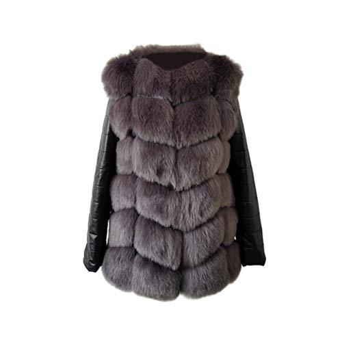 TENDYCOCO Pelz Mode Winter Frauen Nachahmung Fuchspelzmantel PU Leder Langarm Jacke für Frauen (Silber Grau, M) -