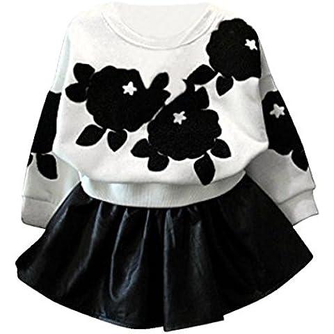 Koly Las niñas de manga larga Tops camisa + falda de cuero de la PU juego de ropa,Blanco (140cm)