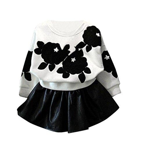 Koly Las niñas de manga larga Tops camisa + falda de cuero de la PU juego de ropa,Blanco (100cm)