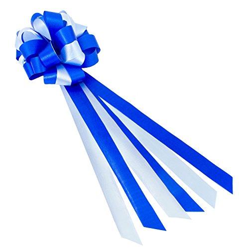 Oblique Unique® Geschenk Schleife Groß mit Geschenkband Deko Band für Geschenke und Zuckertüten - wählbar (Blau Weiß)