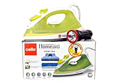 Cello Steamy Iron 100 A (1250W) Green - 1 Rechargeable Torch Free