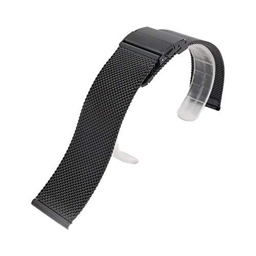 Gaddrt Larghezza 18mm / 20mm / 22mm Cinturino In Acciaio Inossidabile Con Doppia Fibbia a Bottone Milanese Metal Bracele Può Adattarsi Alla Maggior Parte Degli Orologi (18mm, Black)