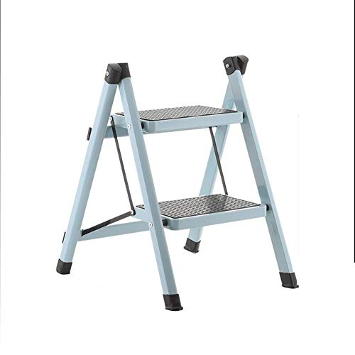 Bseack_store Ladder Stool, 2 Steps Foldable Portable Enlargement The Pedal Stool Double Ladder Purpose House Change Optional Shoe Bench (Color: Light Blue)
