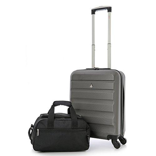 Aerolite ABS trolley bagaglio a mano valigia rigida con 4 ruote (Carbone + 35x20x20cm Seconda Borsa Nero)