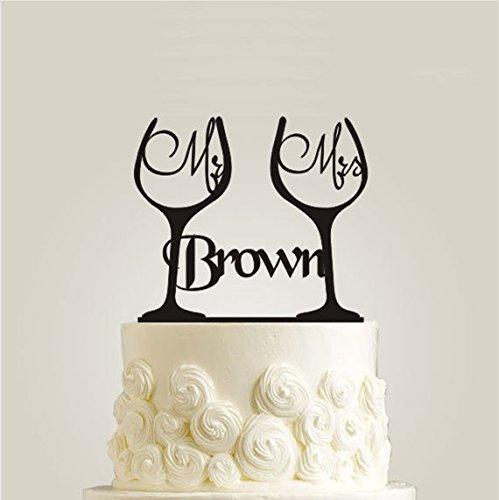 Personalisierte Kuchendekoration Herr Frau Wein Glas Kuchen Topper Für Hochzeiten Dekorieren Engagement Party Kuchen, Decor