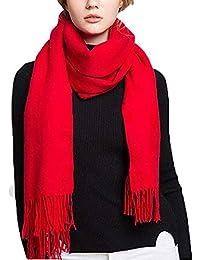 9b4ca53ef370 iado Écharpe Femme Pashmina Hiver Foulard Homme Cachemire Tissage Soie  Châle Chaud Tassels Couleur Unie Doux et Long 200 x 70 cm…