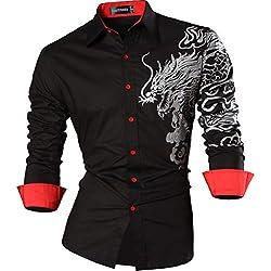 Camisa Hombre Casual Slim Dragon Tattoo Manga Larga Button Down Shirt Black S