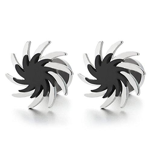 Silber Schwarz Wirbel Säge Klingen Ohrstecker, Ohrringe für Herren Damen Edelstahl Gestüt Ohrringe, Schraube Wieder