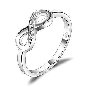 JewelryPalace Infinity Für immer Liebe Zirkonia Jahrestag Ring Vertrauensring Damen Ring 925 Sterling Silber Größe 51 to 59