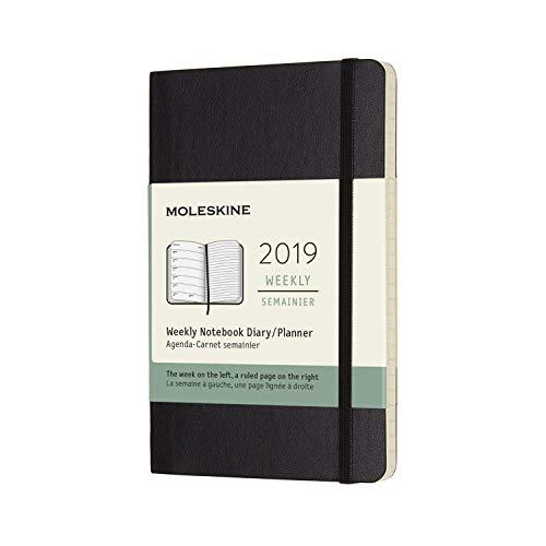 Moleskine 2019 agenda settimanale con spazio per note, 12 mesi, copertina morbida, tascabile, nero