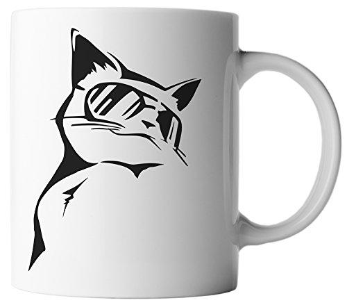 Sonnenbrille Seiten Weißen Mit (vanVerden Tasse Süße, coole Katze mit Sonnenbrille inkl. Geschenkkarte, Farbe:Weiß/Schwarz)