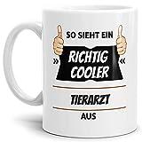 Tassendruck Berufe-Tasse so Sieht Ein Richtig Cooler Tierarzt aus Weiss/Job / mit Spruch/Kollegen / Arbeit/Geschenk-Idee/Büro